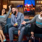 WATCH WHAT HAPPENS LIVE -- Episode 12085 -- Pictured: (l-r) Bellamy Young, Guillermo Diaz, Katie Lowes -- (Photo by: Charles Sykes/Bravo)